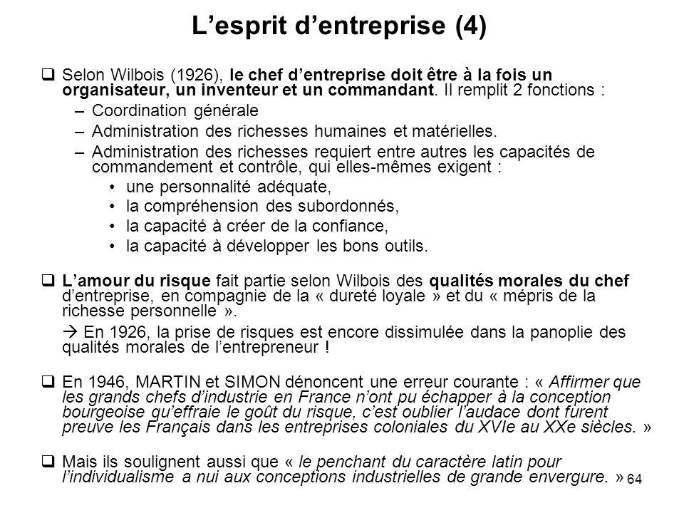 64 Lesprit dentreprise (4) Selon Wilbois (1926), le chef dentreprise doit être à la fois un organisateur, un inventeur et un commandant. Il remplit 2