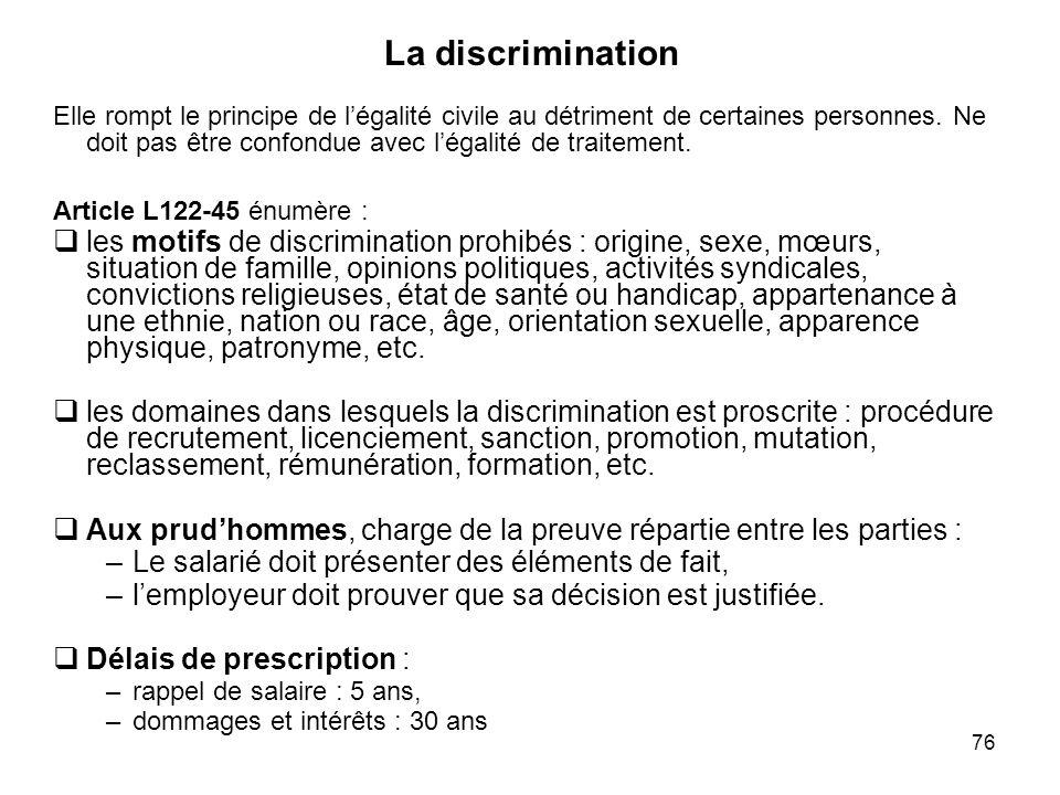 76 Elle rompt le principe de légalité civile au détriment de certaines personnes. Ne doit pas être confondue avec légalité de traitement. Article L122