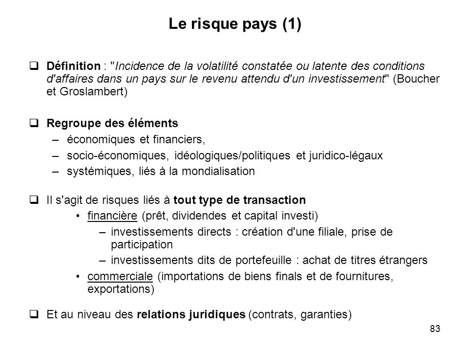 83 Le risque pays (1) Définition :