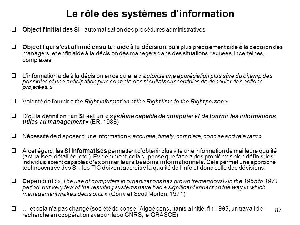 87 Le rôle des systèmes dinformation Objectif initial des SI : automatisation des procédures administratives Objectif qui sest affirmé ensuite : aide