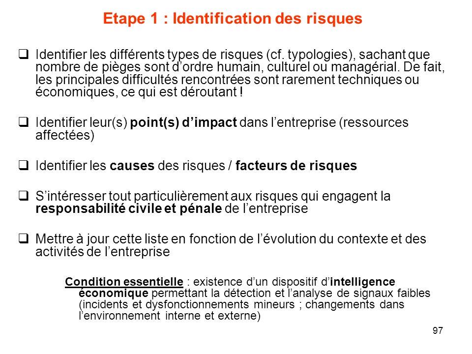 97 Etape 1 : Identification des risques Identifier les différents types de risques (cf. typologies), sachant que nombre de pièges sont dordre humain,