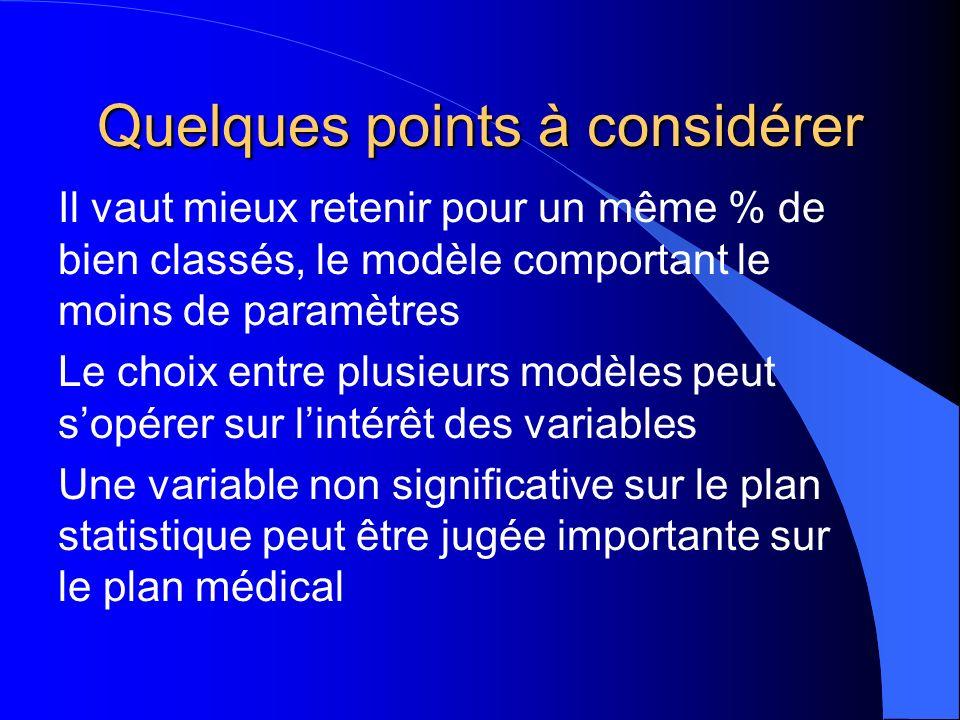 Quelques points à considérer Il vaut mieux retenir pour un même % de bien classés, le modèle comportant le moins de paramètres Le choix entre plusieurs modèles peut sopérer sur lintérêt des variables Une variable non significative sur le plan statistique peut être jugée importante sur le plan médical