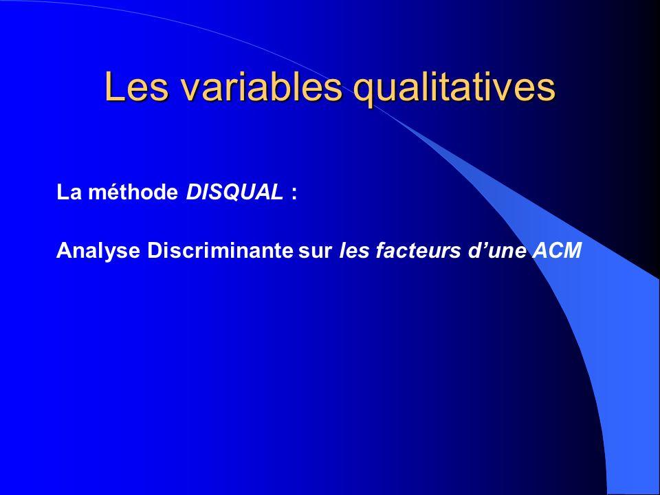 Les variables qualitatives La méthode DISQUAL : Analyse Discriminante sur les facteurs dune ACM