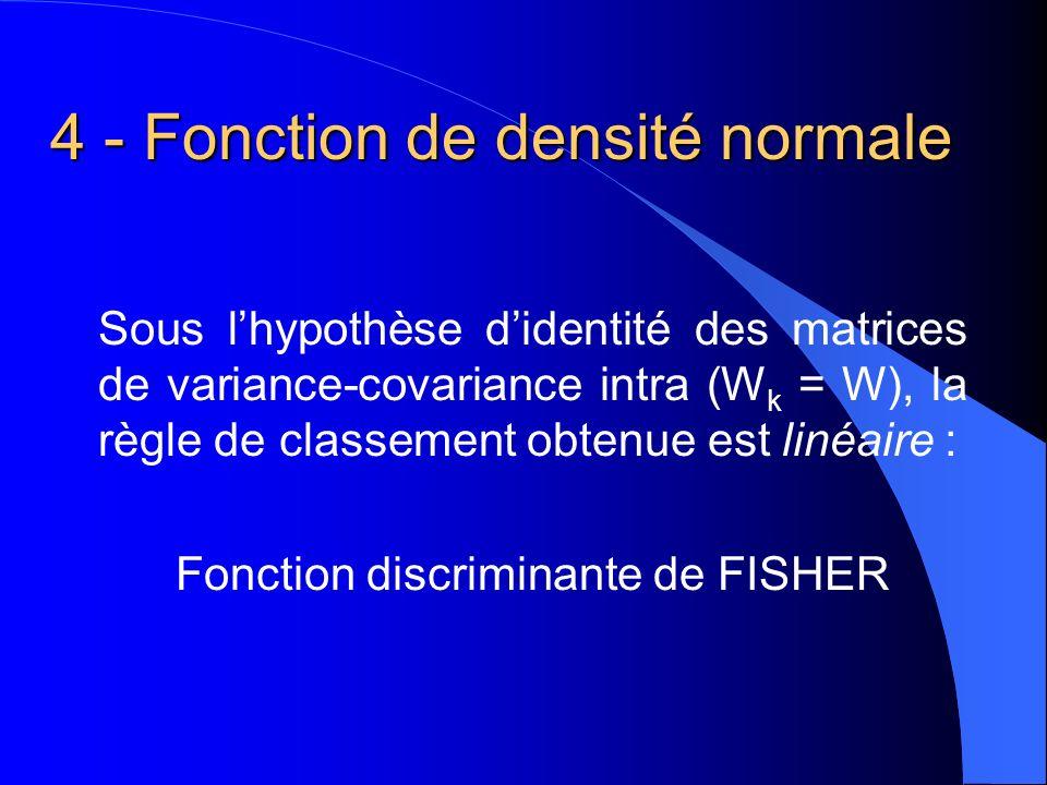 4 - Fonction de densité normale Sous lhypothèse didentité des matrices de variance-covariance intra (W k = W), la règle de classement obtenue est linéaire : Fonction discriminante de FISHER
