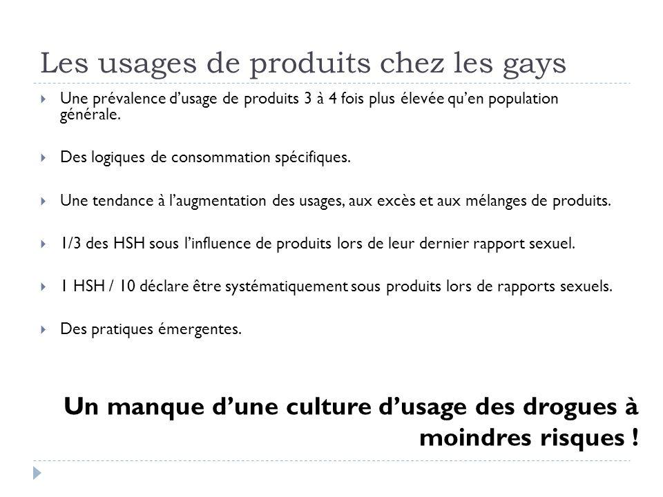 Les usages de produits chez les gays Une prévalence dusage de produits 3 à 4 fois plus élevée quen population générale.