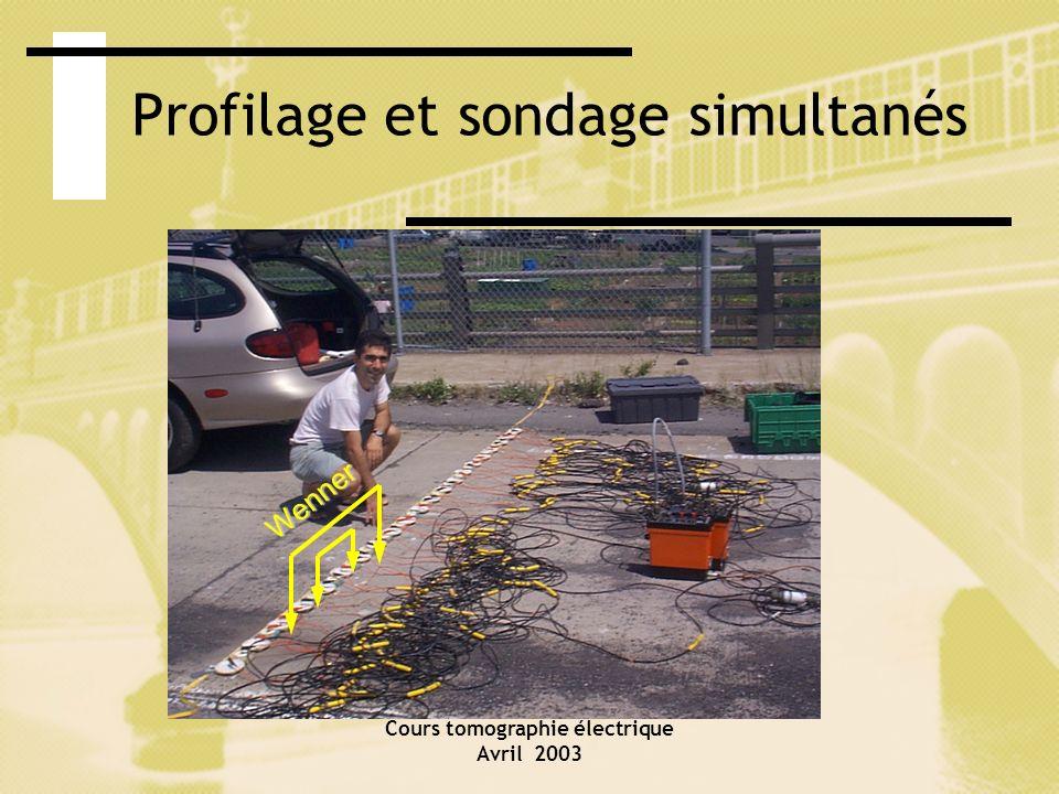 Cours tomographie électrique Avril 2003 Profilage et sondage simultanés Wenner