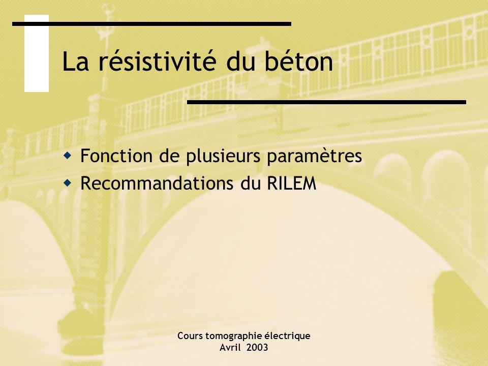 Cours tomographie électrique Avril 2003 La résistivité du béton Fonction de plusieurs paramètres Recommandations du RILEM