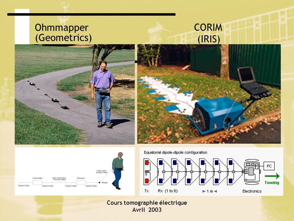 Cours tomographie électrique Avril 2003 Ohmmapper (Geometrics) CORIM (IRIS)