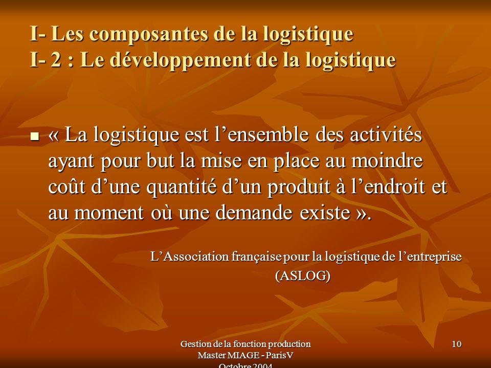 Gestion de la fonction production Master MIAGE - ParisV Octobre 2004 10 I- Les composantes de la logistique I- 2 : Le développement de la logistique «