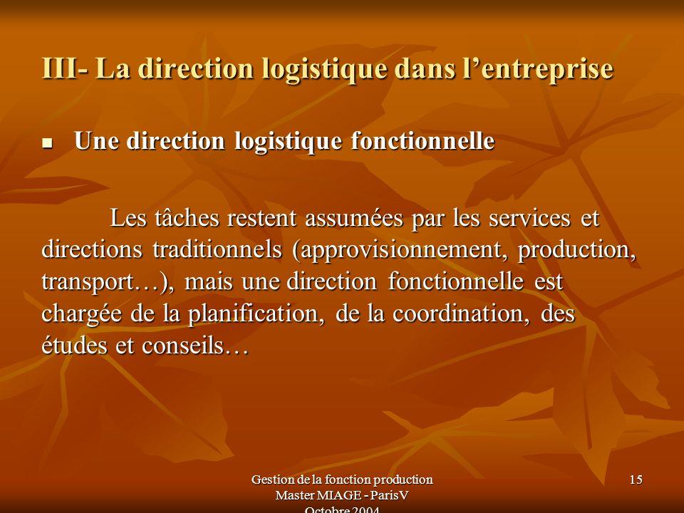 Gestion de la fonction production Master MIAGE - ParisV Octobre 2004 15 III- La direction logistique dans lentreprise Une direction logistique fonctio