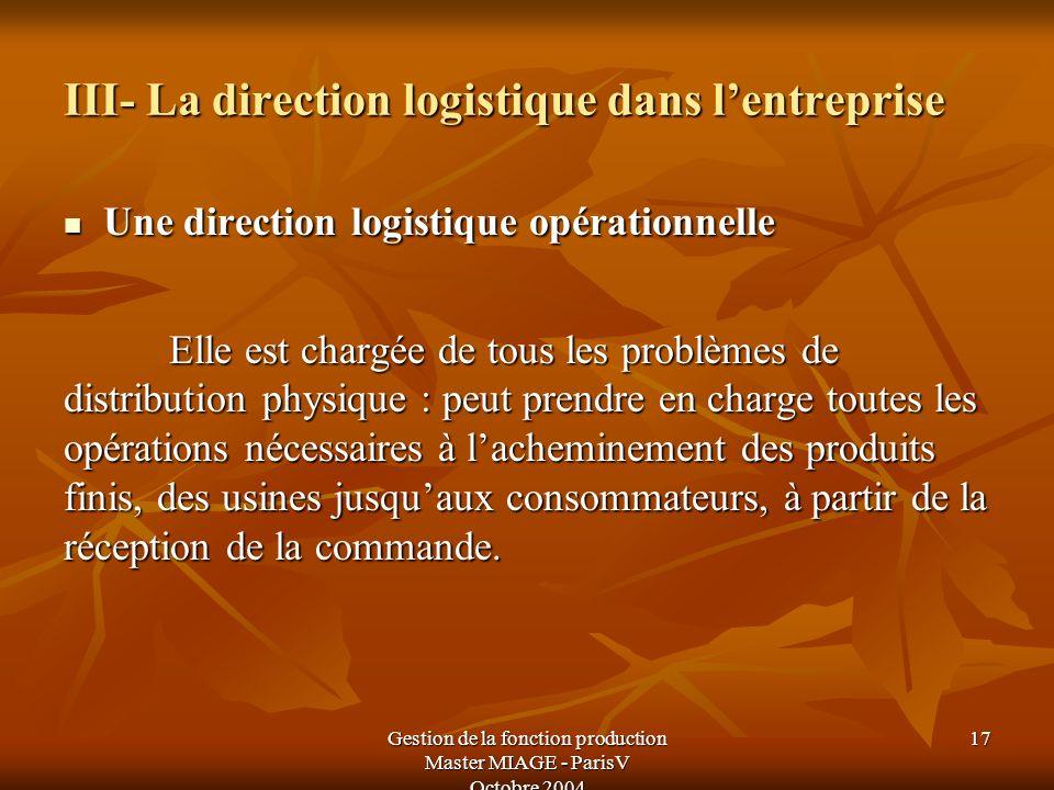 Gestion de la fonction production Master MIAGE - ParisV Octobre 2004 17 III- La direction logistique dans lentreprise Une direction logistique opérati
