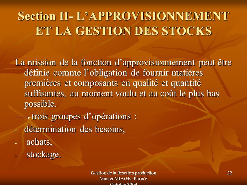 Gestion de la fonction production Master MIAGE - ParisV Octobre 2004 22 La mission de la fonction dapprovisionnement peut être définie comme lobligati