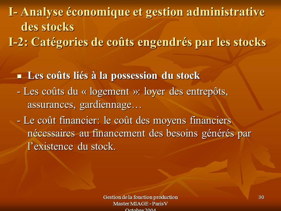 Gestion de la fonction production Master MIAGE - ParisV Octobre 2004 30 I- Analyse économique et gestion administrative des stocks I-2: Catégories de