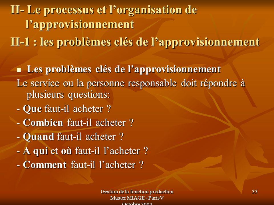 Gestion de la fonction production Master MIAGE - ParisV Octobre 2004 35 II- Le processus et lorganisation de lapprovisionnement II-1 : les problèmes c