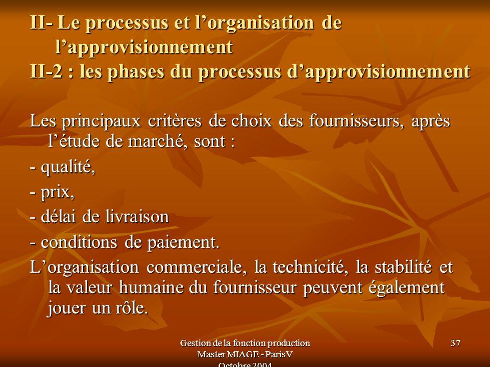 Gestion de la fonction production Master MIAGE - ParisV Octobre 2004 37 II- Le processus et lorganisation de lapprovisionnement II-2 : les phases du p