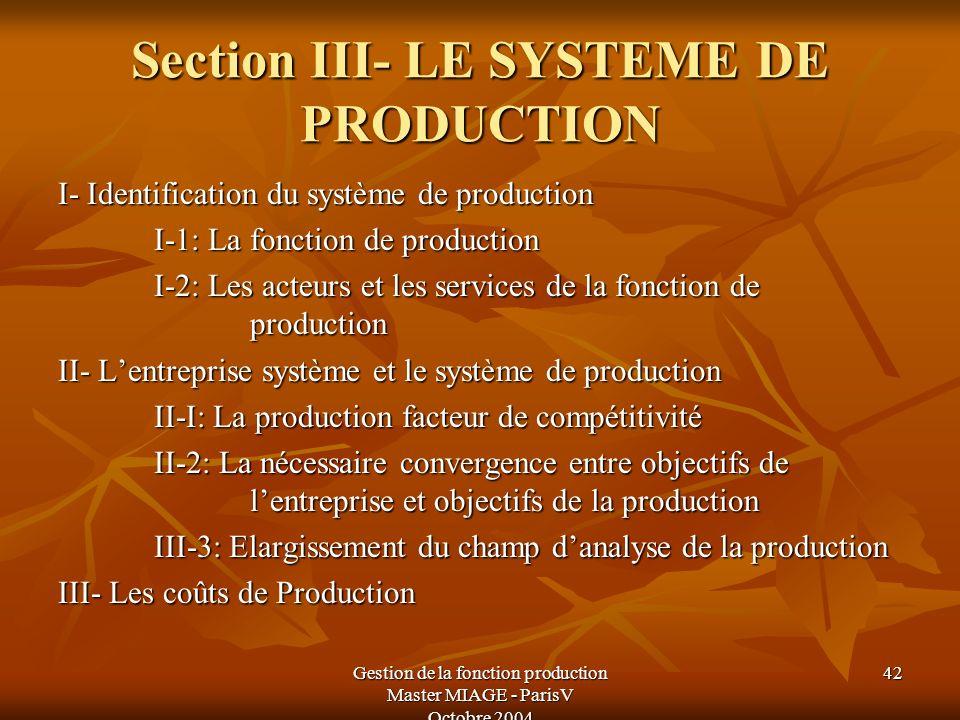 Gestion de la fonction production Master MIAGE - ParisV Octobre 2004 42 Section III- LE SYSTEME DE PRODUCTION I- Identification du système de producti