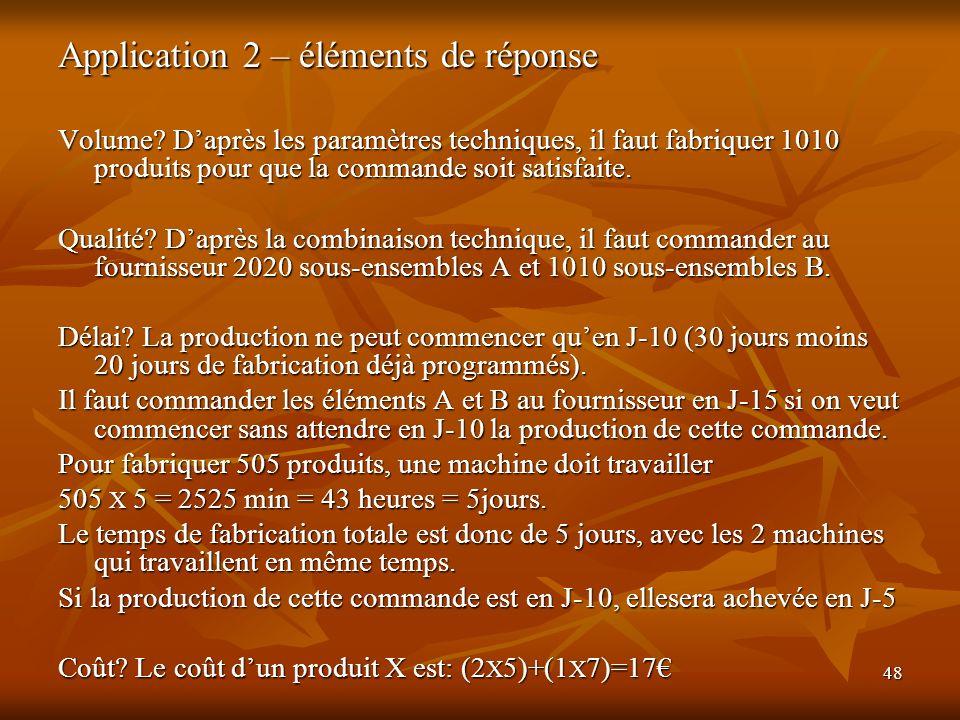 48 Application 2 – éléments de réponse Volume? Daprès les paramètres techniques, il faut fabriquer 1010 produits pour que la commande soit satisfaite.