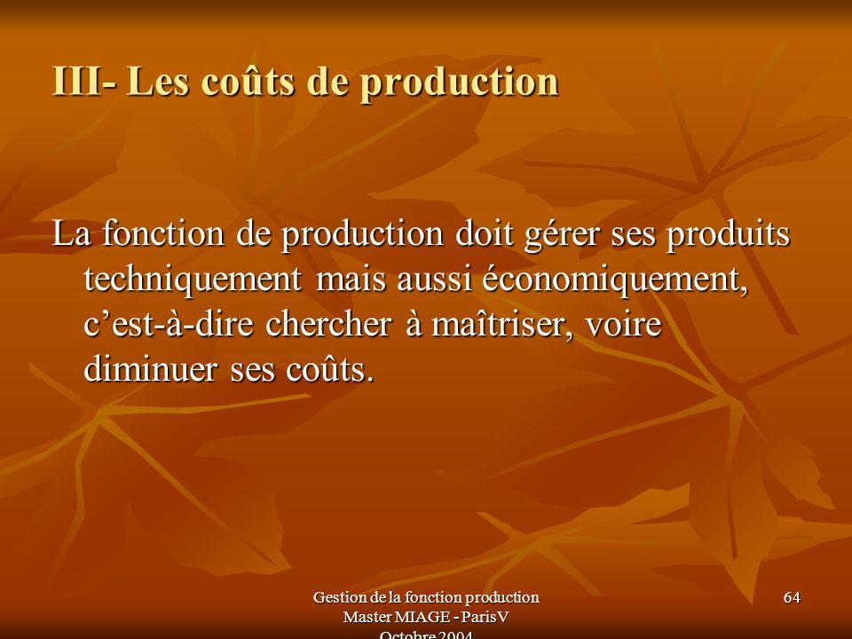 Gestion de la fonction production Master MIAGE - ParisV Octobre 2004 64 III- Les coûts de production La fonction de production doit gérer ses produits