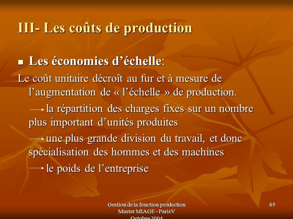 Gestion de la fonction production Master MIAGE - ParisV Octobre 2004 65 III- Les coûts de production Les économies déchelle: Les économies déchelle: L