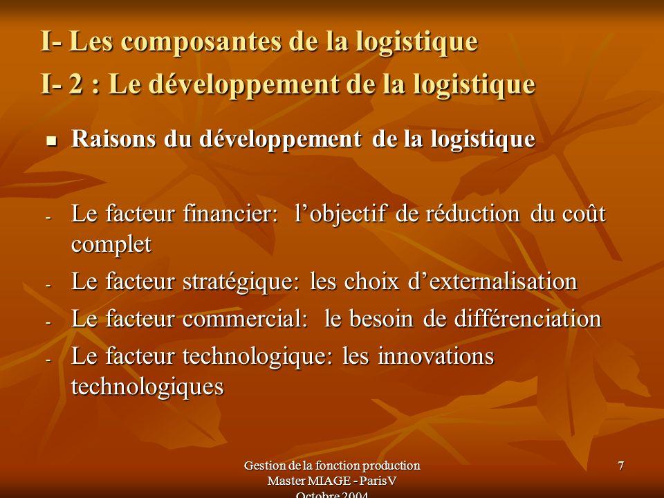 Gestion de la fonction production Master MIAGE - ParisV Octobre 2004 7 I- Les composantes de la logistique I- 2 : Le développement de la logistique I-