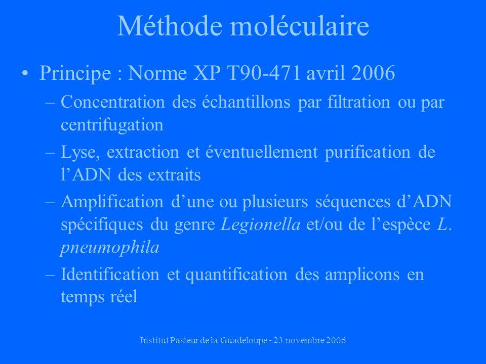 Institut Pasteur de la Guadeloupe - 23 novembre 2006 Méthode moléculaire Principe : Norme XP T90-471 avril 2006 –Concentration des échantillons par filtration ou par centrifugation –Lyse, extraction et éventuellement purification de lADN des extraits –Amplification dune ou plusieurs séquences dADN spécifiques du genre Legionella et/ou de lespèce L.