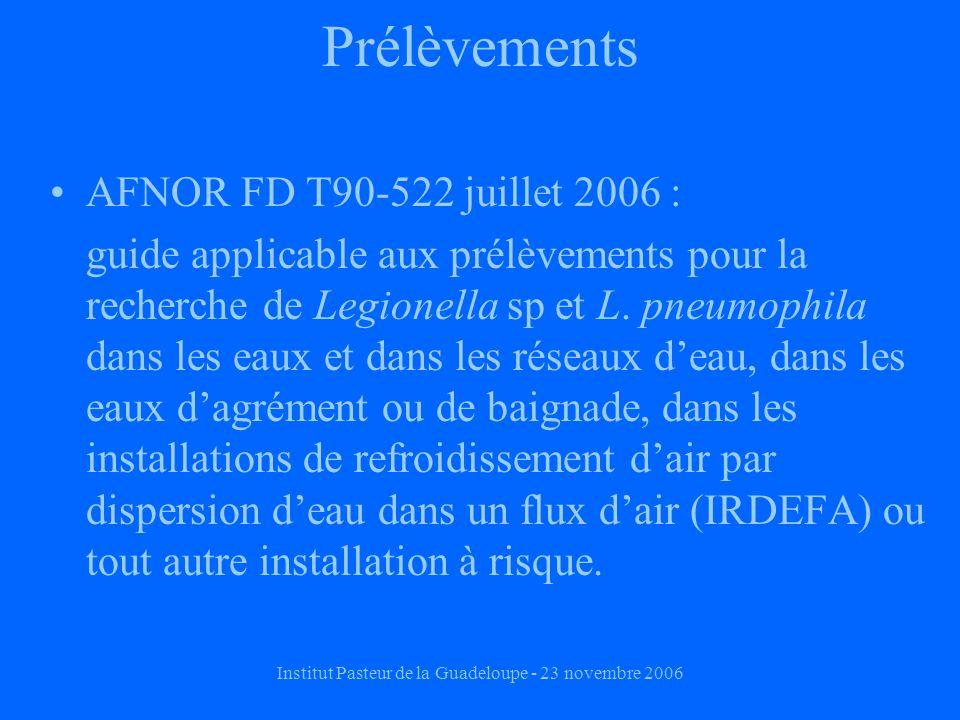 Institut Pasteur de la Guadeloupe - 23 novembre 2006 Prélèvements AFNOR FD T90-522 juillet 2006 : guide applicable aux prélèvements pour la recherche de Legionella sp et L.