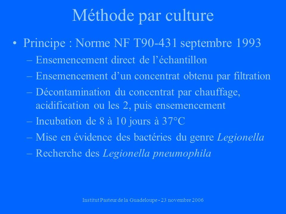 Institut Pasteur de la Guadeloupe - 23 novembre 2006 Méthode par culture Principe : Norme NF T90-431 septembre 1993 –Ensemencement direct de léchantillon –Ensemencement dun concentrat obtenu par filtration –Décontamination du concentrat par chauffage, acidification ou les 2, puis ensemencement –Incubation de 8 à 10 jours à 37°C –Mise en évidence des bactéries du genre Legionella –Recherche des Legionella pneumophila