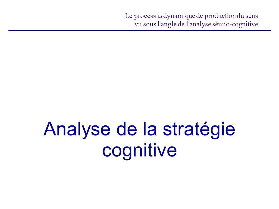 Le processus dynamique de production du sens vu sous l'angle de l'analyse sémio-cognitive Analyse de la stratégie cognitive
