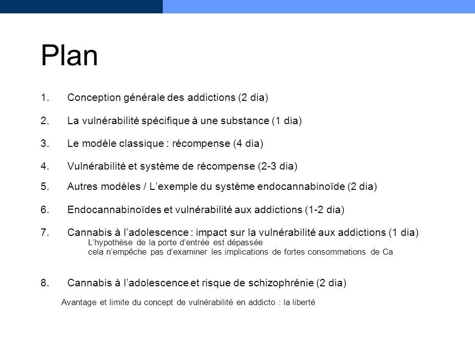 Plan 1.Conception générale des addictions (2 dia) 2.La vulnérabilité spécifique à une substance (1 dia) 3.Le modèle classique : récompense (4 dia) 4.V