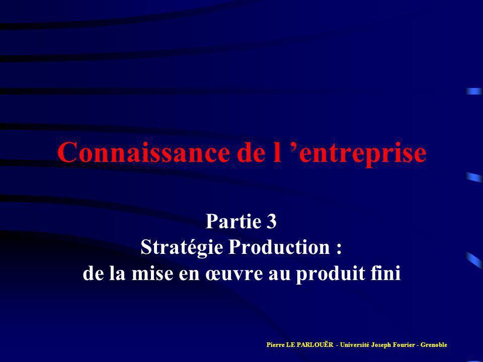 Connaissance de l entreprise Partie 3 Stratégie Production : de la mise en œuvre au produit fini Pierre LE PARLOUËR - Université Joseph Fourier - Grenoble