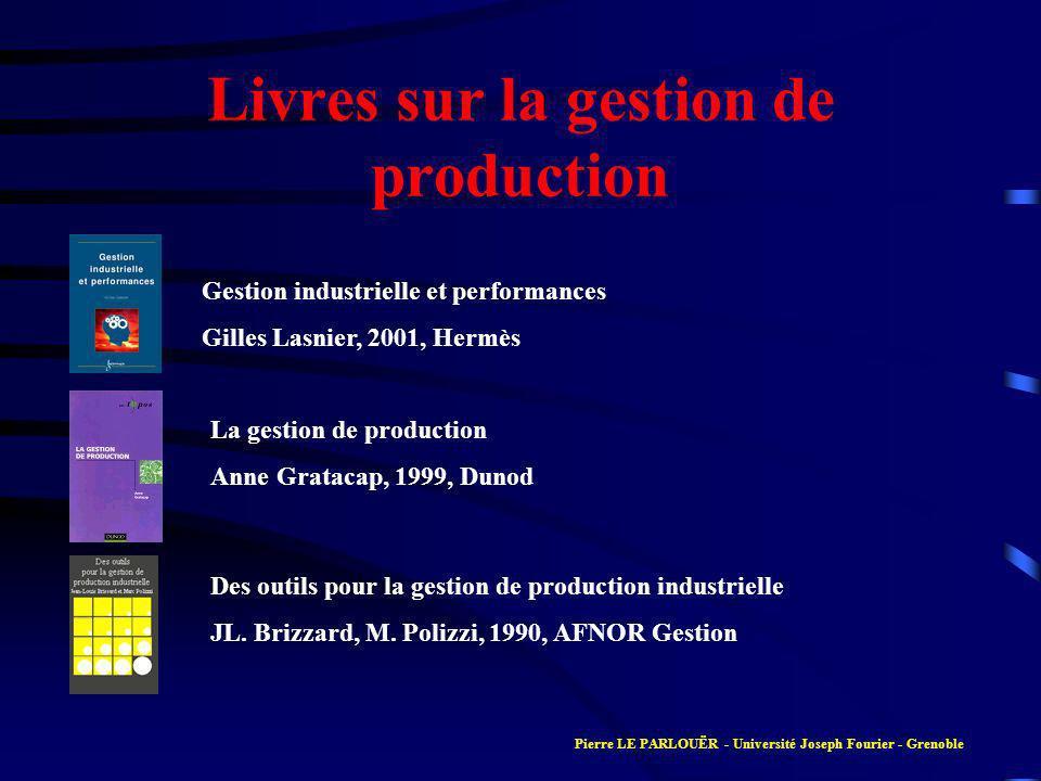 Livres sur la gestion de production Gestion industrielle et performances Gilles Lasnier, 2001, Hermès La gestion de production Anne Gratacap, 1999, Du
