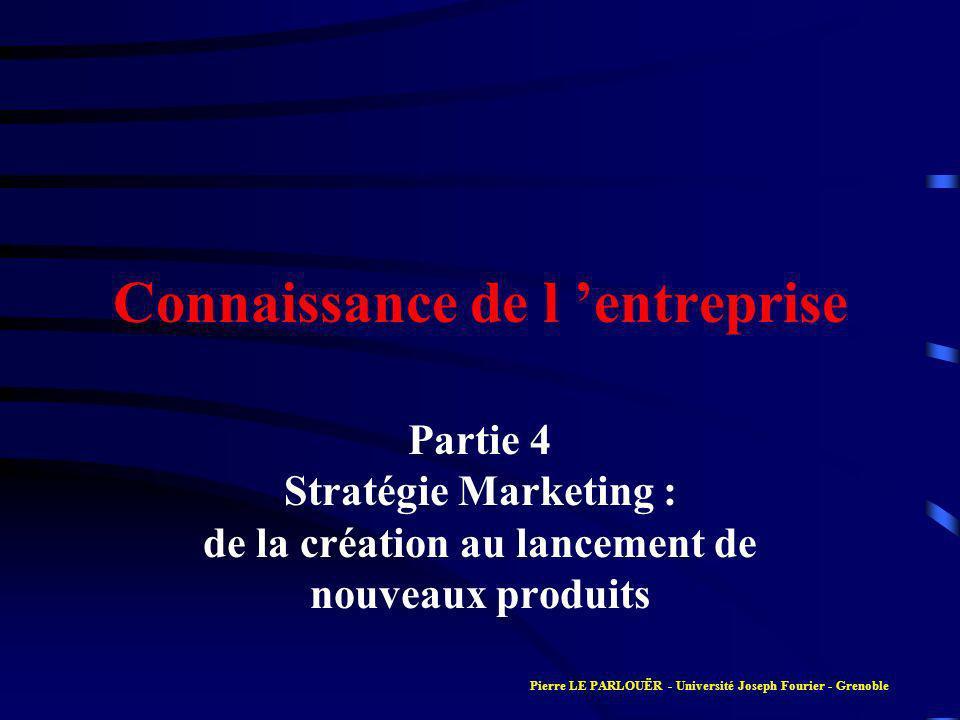 Connaissance de l entreprise Partie 4 Stratégie Marketing : de la création au lancement de nouveaux produits Pierre LE PARLOUËR - Université Joseph Fo