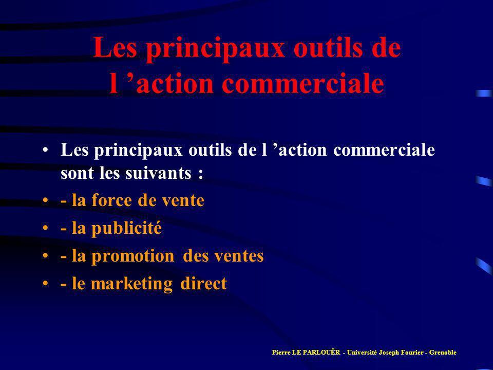Les principaux outils de l action commerciale Les principaux outils de l action commerciale sont les suivants : - la force de vente - la publicité - la promotion des ventes - le marketing direct Pierre LE PARLOUËR - Université Joseph Fourier - Grenoble
