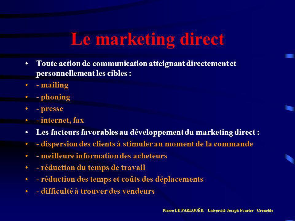 Le marketing direct Toute action de communication atteignant directement et personnellement les cibles : - mailing - phoning - presse - internet, fax