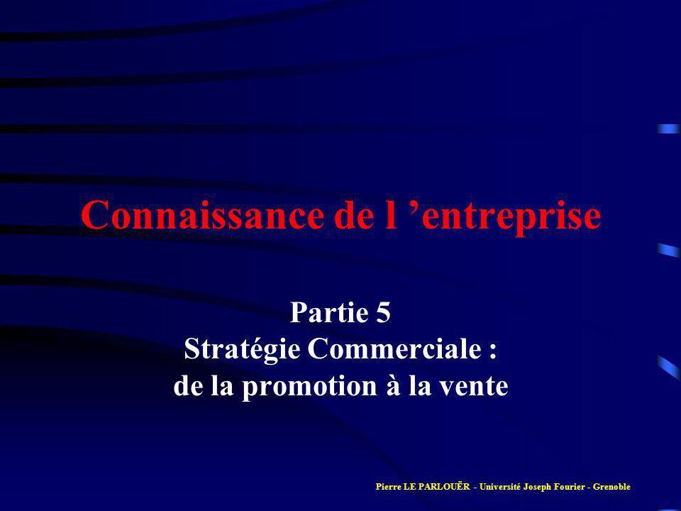 Connaissance de l entreprise Partie 5 Stratégie Commerciale : de la promotion à la vente Pierre LE PARLOUËR - Université Joseph Fourier - Grenoble