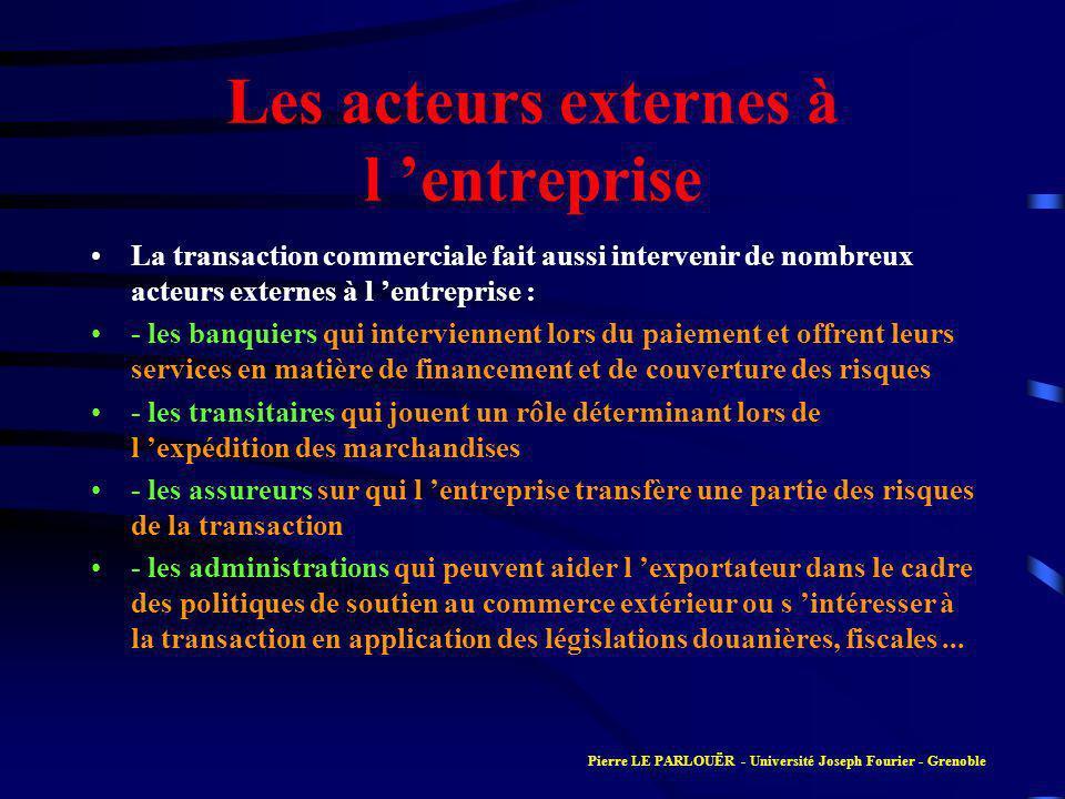 La transaction commerciale fait aussi intervenir de nombreux acteurs externes à l entreprise : - les banquiers qui interviennent lors du paiement et o