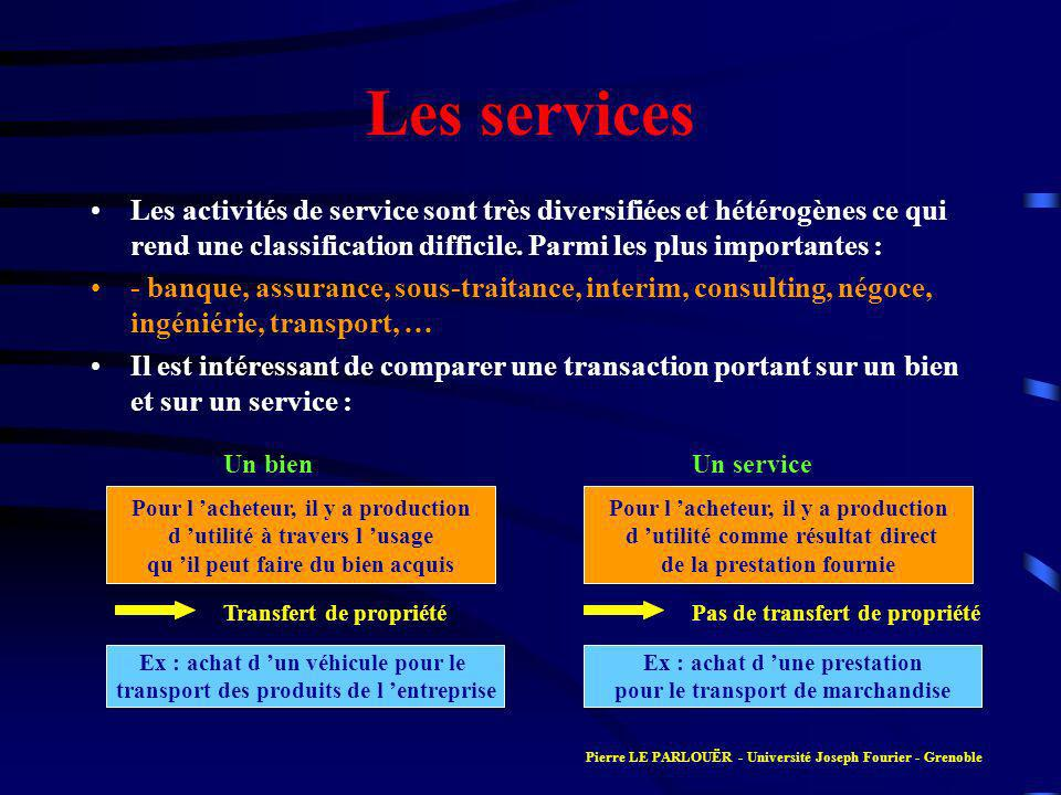 Les services Les activités de service sont très diversifiées et hétérogènes ce qui rend une classification difficile. Parmi les plus importantes : - b