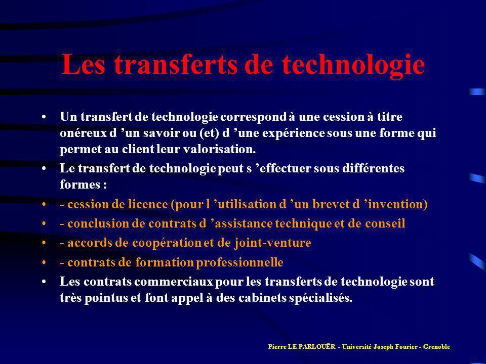 Les transferts de technologie Un transfert de technologie correspond à une cession à titre onéreux d un savoir ou (et) d une expérience sous une forme qui permet au client leur valorisation.