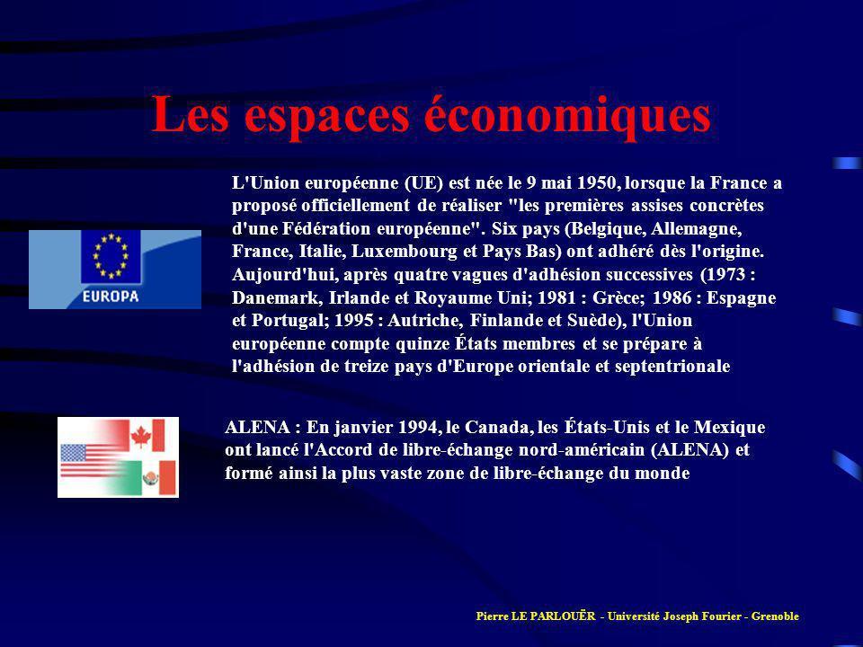 Les espaces économiques ALENA : En janvier 1994, le Canada, les États-Unis et le Mexique ont lancé l Accord de libre-échange nord-américain (ALENA) et formé ainsi la plus vaste zone de libre-échange du monde L Union européenne (UE) est née le 9 mai 1950, lorsque la France a proposé officiellement de réaliser les premières assises concrètes d une Fédération européenne .