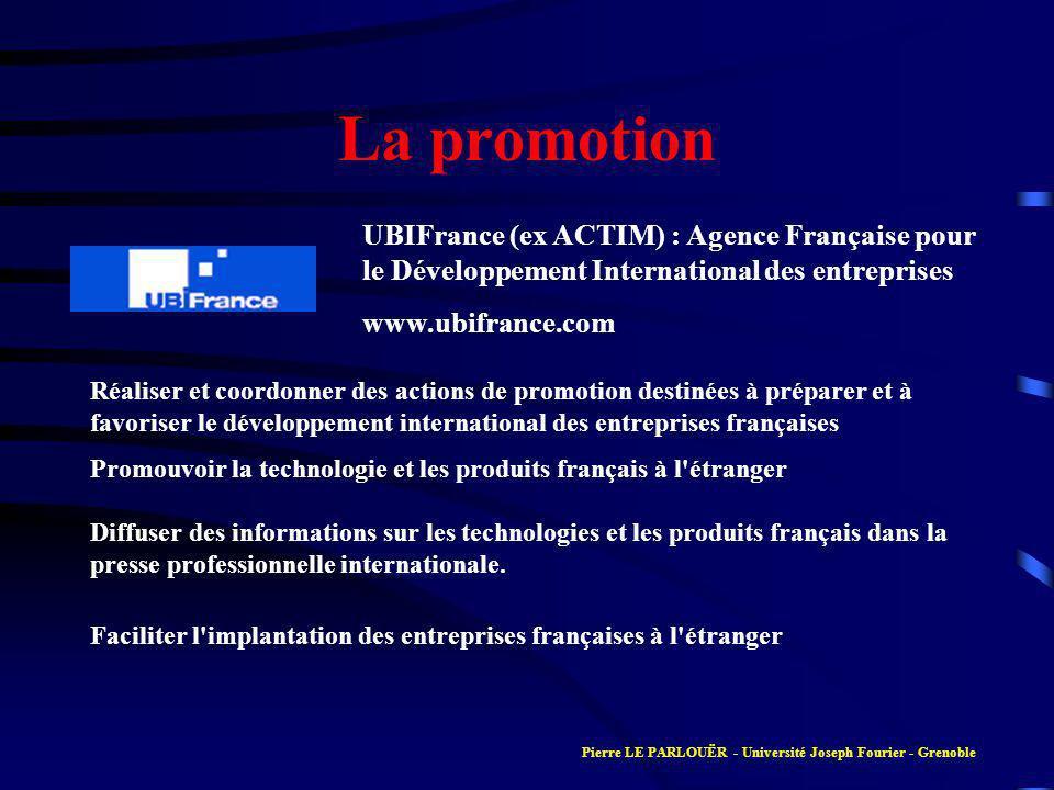 La promotion Réaliser et coordonner des actions de promotion destinées à préparer et à favoriser le développement international des entreprises françaises Promouvoir la technologie et les produits français à l étranger Diffuser des informations sur les technologies et les produits français dans la presse professionnelle internationale.