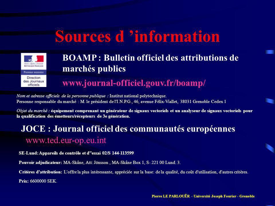 Sources d information Nom et adresse officiels de la personne publique : Institut national polytechnique.