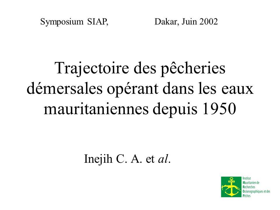 Inejih CA Juin, 2002 Objectifs Dresser lhistorique de lexploitation des ressources en Mauritanie depuis 1950: Mobiliser linformation disponible sur les principales pêcheries Analyser comparativement leurs évolutions (mutations) Mettre en exergue les évolutions marquant le développement des pêcheries en Mauritanie Ressortir les facteurs sous-tendant le développement des pêcheries.