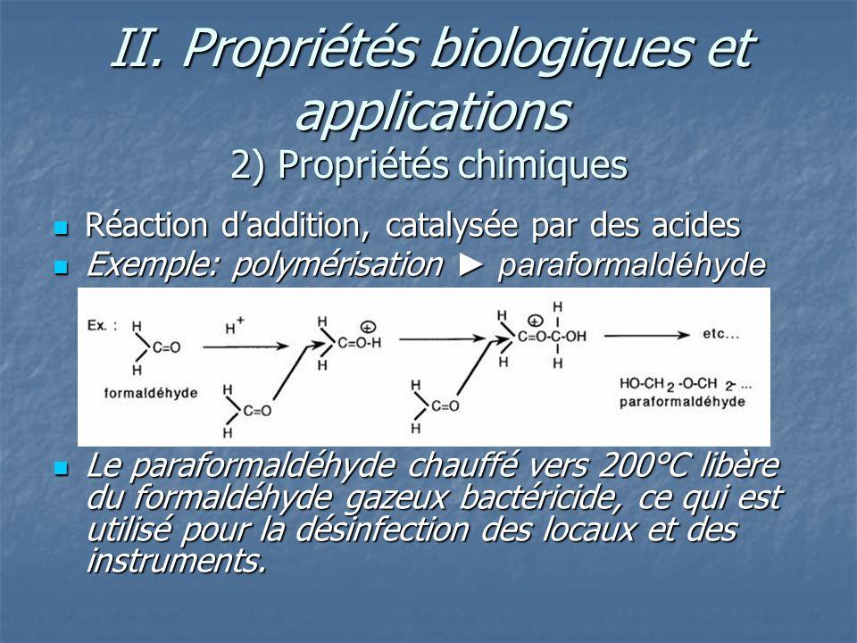 II. Propriétés biologiques et applications 2) Propriétés chimiques Réaction daddition, catalysée par des acides Réaction daddition, catalysée par des