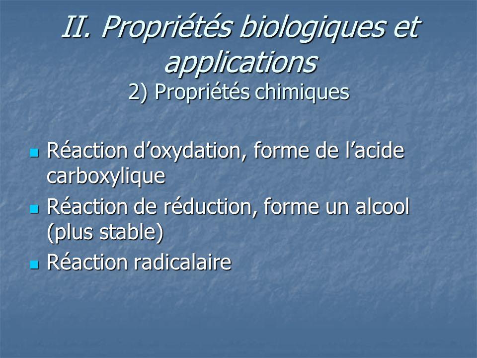II. Propriétés biologiques et applications 2) Propriétés chimiques Réaction doxydation, forme de lacide carboxylique Réaction doxydation, forme de lac