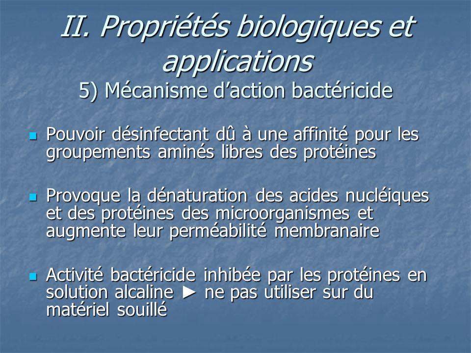 II. Propriétés biologiques et applications 5) Mécanisme daction bactéricide Pouvoir désinfectant dû à une affinité pour les groupements aminés libres
