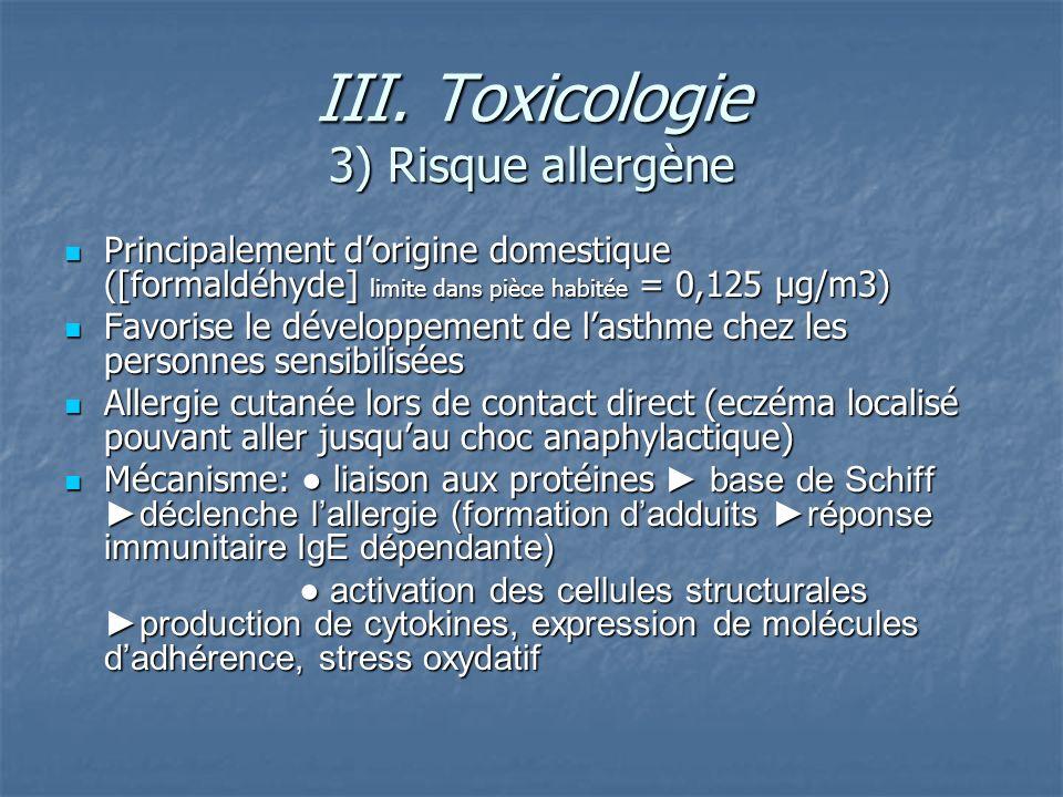 III. Toxicologie 3) Risque allergène Principalement dorigine domestique ([formaldéhyde] limite dans pièce habitée = 0,125 µg/m3) Principalement dorigi