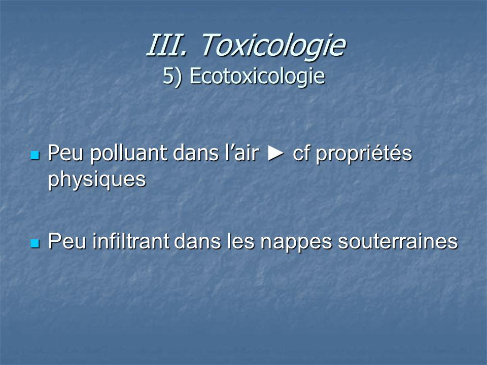 III. Toxicologie 5) Ecotoxicologie Peu polluant dans lair cf propriétés physiques Peu polluant dans lair cf propriétés physiques Peu infiltrant dans l