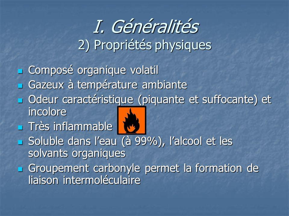 I. Généralités 2) Propriétés physiques Composé organique volatil Composé organique volatil Gazeux à température ambiante Gazeux à température ambiante