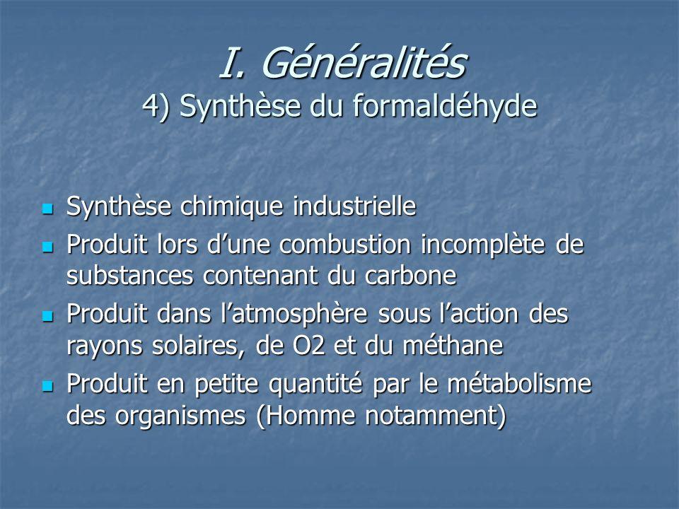 I. Généralités 4) Synthèse du formaldéhyde Synthèse chimique industrielle Synthèse chimique industrielle Produit lors dune combustion incomplète de su