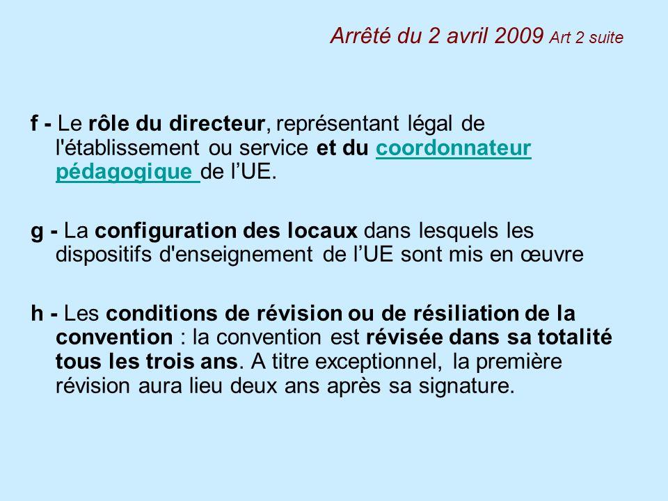 f - Le rôle du directeur, représentant légal de l'établissement ou service et du coordonnateur pédagogique de lUE.coordonnateur pédagogique g - La con